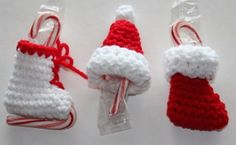 Three Little Candy Cane Holder Christmas Ornaments | Crochet Pattern | YouCanMakeThis.com