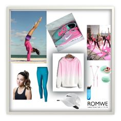 """Romwe#Pink Sweatshirt"" by sselma ❤ liked on Polyvore featuring moda, NIKE y Titika"