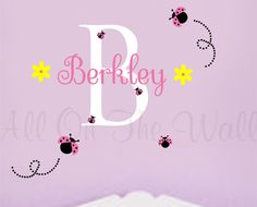 Hey, I found this really awesome Etsy listing at https://www.etsy.com/listing/95203121/girl-wall-decal-ladybugs-name-flowers