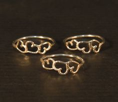3 sister rings,  Tiny heart ring sterling silver, Big sister little sister rings on Etsy, 312.99₪