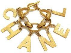 Authentic Vintage Chanel cuff bracelet bangle gold huge logo chain