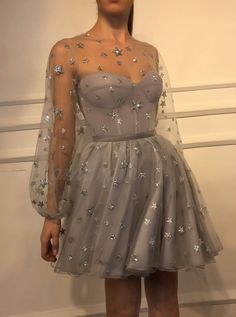 A-Line Jewel Long Sleeves Short Grey Homecoming Dress with Sequin Cute Prom Dresses, Dance Dresses, Pretty Dresses, Beautiful Dresses, Long Sleeve Homecoming Dresses, Homecoming Outfits, Formal Dresses With Sleeves, Wedding Dresses, Vintage Mode