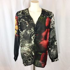 Desigual Blouse Top Black Floral Sheer Chiffon gathered hem Tunic Large NWOT  | eBay Fashion Deals, Sheer Chiffon, Black Tops, Bomber Jacket, Tunic, Clothes For Women, Blouse, Floral, Jackets