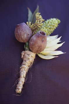 Good idea for a hall wedding/native Australian buttonhole.