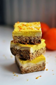 Raw Orange & Ginger Cheesecake slice! Vegan, gluten-free, unrefined sugar-free, guilty-free and delicious!