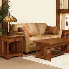 These beautiful tables will add the warmth and charm of mission style furniture to your home. The coffee table features two drawers for storage in addition to a full size bottom shelf. The end tables have a single drawer as well as the bottom shelf.