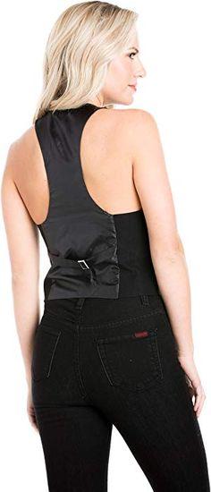 709a8ad1ab2 Fashion Secrets Juniors Racerback Satin Back Waistcoat Black Vest (Large