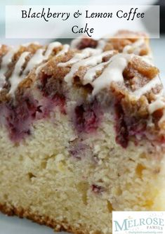 This Blackberry Lemon Coffee Cake is great for brunch, but it could double as a dessert! It's not overly heavy - and the berry and citrus flavor pairs well with the cake 💯  #themelrosefamily #newrecipe #blackberrylemoncoffeecake #blackberrylemoncake #lemoncake #blackberrycake