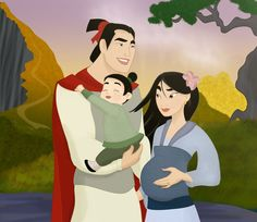 Mulan and Shang with their baby boy Chen, which means morning