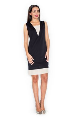 Black And Cream Two Tone V Dress - SilkFred
