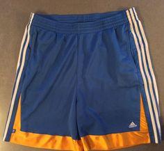 "Adidas Men's Blue Gold Basketball Shorts 2X Adjustable Waist 40""x21"" 101.60cm #adidas #activeshorts"