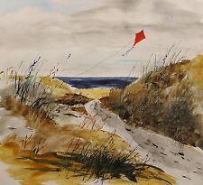 ORIGINAL Sea Kite LANDSCAPE Large  Painting JMW art John Williams Watercolor