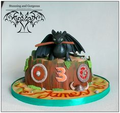 Can one have a crush on a Dragon? Well I can. Finally I was asked to make a Toothless cake and I just love how it turned out. www.stunningandgorgeous.nl