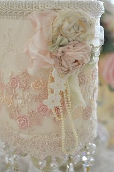Gorgeous Handmade Lace Lampshade with Vintage by Jenneliserose