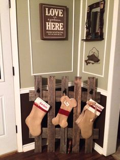 Our Rustic Pallet Stocking Hanger! Got the stockings from Etsy & the pallet was found by my husband at work for free! Took about 20 minutes for my husband & I to build the stocking hanger. So easy!