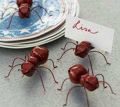 RED ANT PLACE CARD HOLDER, SET OF 4 free shipping new reg. price $22 sale $16.99  I would use these in front of a serving dish to let people know what it is. They would be cute for outdoor cookouts...eb