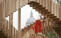 """The temporary art installation 'Endless Stair' has been erected outside the Tate Modern to launch national design week. It was created by dRMM Architects and inspired by M C Escher's surreal drawings of never-ending staircases."" Sept. 2013, caption at link"