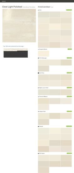 Crest Light Polished. ColorBody Porcelain. Type. Americanolean. Behr. Benjamin Moore. PPG Pittsburgh. Dutch Boy. Ralph Lauren Paint. Sherwin Williams. Valspar Paint. Olympic. PPG Paints.  Click the gray Visit button to see the matching paint names.