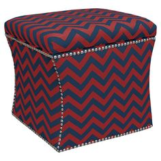 Chevron storage ottoman with nailhead trim and pine wood frame. Handmade in the USA.    Product: Storage ottoman    Constr...