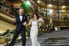 newlyweds enter reception - photo by Suzuran Photography http://ruffledblog.com/new-years-eve-cleveland-wedding