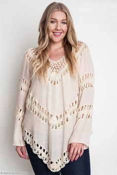 PLUS SIZE Boho V-Neck Long Sleeve Crochet Tunic Top-Off White