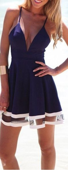 Sexy Deep V Neck Spaghetti Strap Pleated Ruffle Short Skater Mini Dress // More at http://www.cutedresses.co/go/Sexy-Deep-V-Neck-Spaghetti-Strap-Mini-Dress