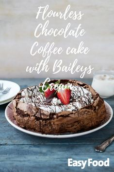 This decadent chocolate coffee cake with baileys cream is the only dinner-party dessert recipe you'll ever need! #desserts #chocolate