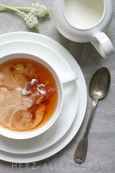 tea with milk? add honey... yes please!