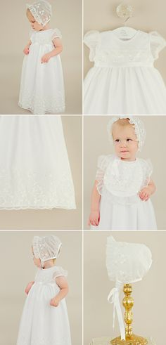 Shamrock embroidered organza on this sweet Christening gown with matching bonnet. Perfect for your Irish Christening or for St. Patrick's Day! https://www.onesmallchild.com/elise-christening-dress.html