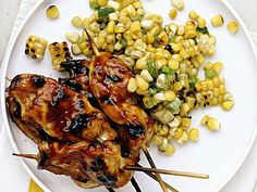 Honey Chicken Skewers with Grilled-Corn Salad | These top-rated chicken recipes are guaranteed to take the stress out of preparing weeknight meals.