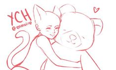 (CLOSED) YCH : Hugging Stuffed Animal by enmoire