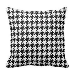 #Houndstooth Pattern Black and White #Pillows #zazzle #gifts #zazzlebesties