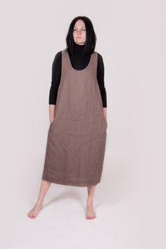 Maxi linen dress. Linen dress. Brown linen dress. Low armhole dress. by Maliposhaclothes on Etsy