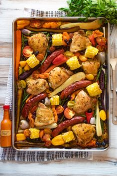 Sheet Pan Chicken with Chorizo | DIVERSE DINNERS Mini Sweet Peppers, Stuffed Sweet Peppers, Pre Cooked Chicken, How To Cook Chicken, Green Beans With Shallots, Chorizo Sausage, Dinner This Week, Teen Hairstyles, Chicken Flavors