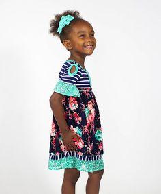 $23.99 marked down from $44! Navy & Mint Floral Cutout Dress - Toddler & Girls #toddler #girls #zulily! #zulilyfinds