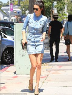 Kendall Jenner is a style jeanius in a denim shirt mini dress #dailymail