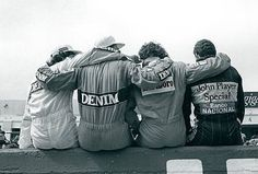 Ayrton Senna, Alain Prost, Nigel Mansell e Nelson Piquet a l' Estoril GP Portogallo 1986.