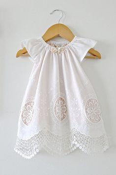 Baby Girl Baptism Dress-Antique White Cotton Lace от ChasingMini