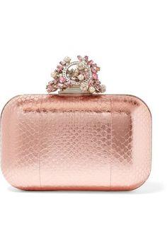 Rose gold elaphe Clasp fastening at top Designer color: Tea Rose Elaphe: China Made in Italy