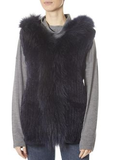 Navy Rabbit Gilet With Raccoon Trim