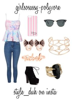 """""""Flirty Pink"""" by girlsosassy ❤ liked on Polyvore featuring moda, Topshop, Victoria's Secret, Ray-Ban y Alexis Bittar"""