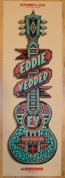 "Eddie Vedder w/ Glen Hansard - silkscreen concert poster (click image for more detail) Artist: Mark 5 Venue: Kiva Auditorium Location: Albuquerque, NM Concert Date: 11/6/2012 Size: 12"" x 36"" Edition:"