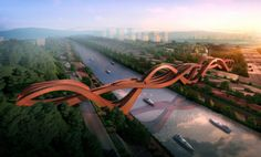 "bridge pedestrian footbridge over the Dragon King Harbour River in China by NEXT Architects. The bridge design involves three individual, swirling lanes at Changsha.  The rendering won an international competition and currently under construction. ""The construction with the intersecting connections is based on the principal of the Möbius ring,"" states Michel Schreinemachers. ""refers to a Chinese knot that comes from an ancient decorative Chinese folk art,"" John van de Water adds. huffpo20140..."