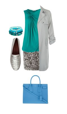 Teal looks fantasticon a toned summer. I styled this color witha soft blue that is close to the teal on the toned summer color wheel. Medium grey…