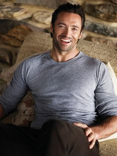 Hugh Jackman. Grey t-shirt + great smile = dressed for anywhere.
