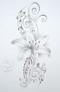 Dessin de Tatouage de Fleur sur fond de style Maori Polynésien Plus