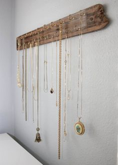 Love long necklaces in metallics. Pendant necklaces are so cute. Necklace Organizer Made With Reclaimed Wood Hooks by DANIELLEidd (diy jewelry pendant simple) diy jewelry holder Jewellery Storage, Jewelry Organization, Jewellery Display, Necklace Storage, Diy Necklace Holder, Closet Organization, Diy Necklace Organizer, Organizing, Organization Ideas