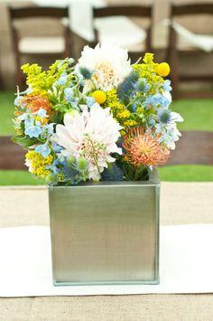 thistle, protea, dahlias, craspedia