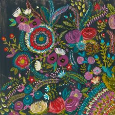 """Original Midnight Garden Painting by Bari J. in acrylics on gallery wrapped canvas. 20"""" x 20"""". Art that makes a great gift. Home decor. Wall art."""