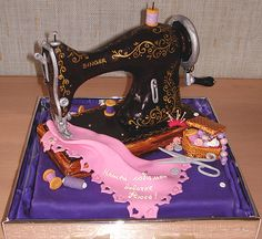 Sewing machine and notions cake.
